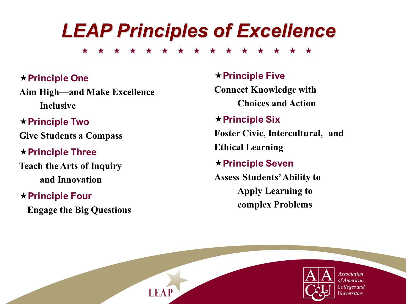 LEAP Principles of Excellence Principle One Aim Highand Make Excellence Inclusive Principle Two Give Students a Compass Principle Three Teach the Arts of Inquiry and Innovation Principle Four Engage the Big Questions Principle Five Connect Knowledge with Choices and Action Principle Six Foster Civic, Intercultural,and Ethical Learning Principle Seven Assess Students Ability to Apply Learning to complex Problems