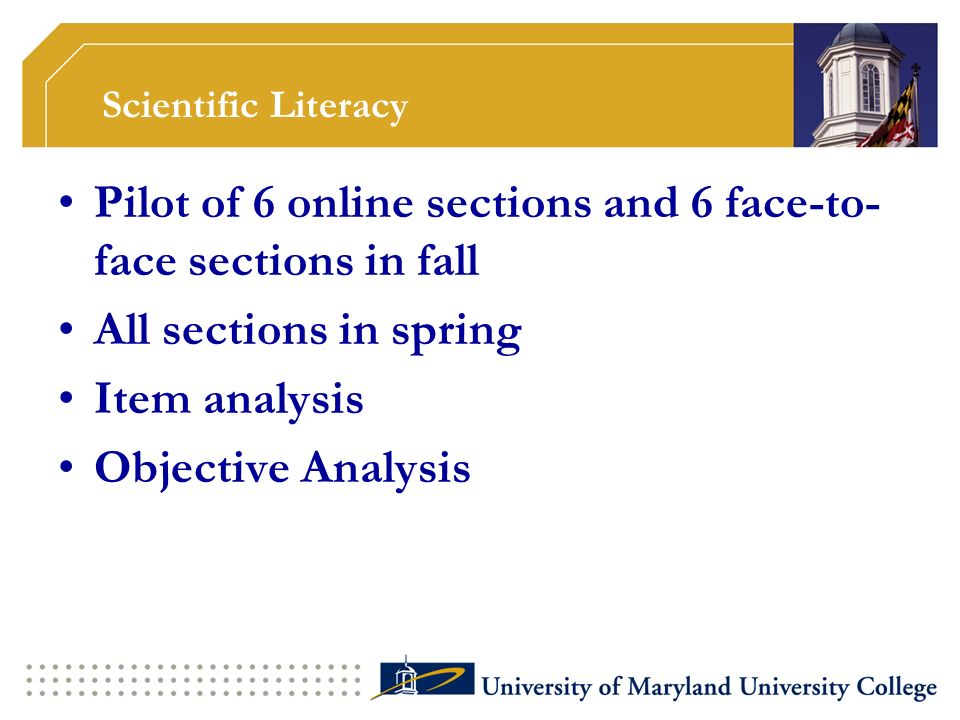 Scientific Literacy Pilot of 6 online sections and 6 face-to- face sections in fall All sections in spring Item analysis Objective Analysis