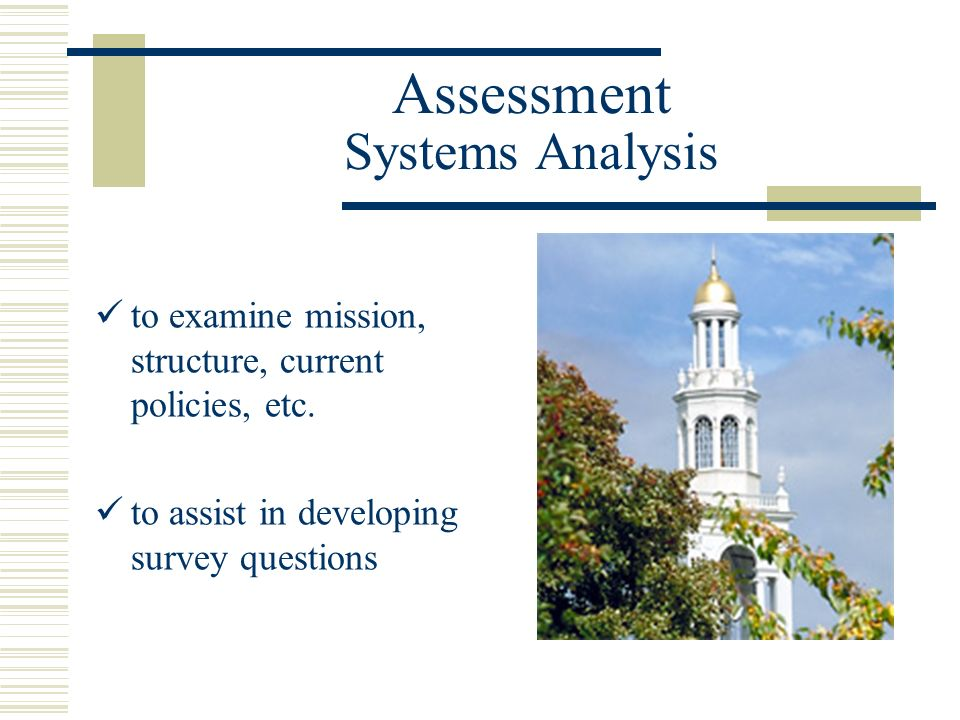 Assessment Systems Analysis to examine mission, structure, current policies, etc.