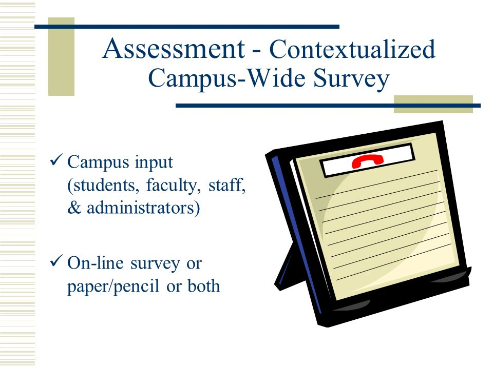 Assessment - Contextualized Campus-Wide Survey Campus input (students, faculty, staff, & administrators) On-line survey or paper/pencil or both