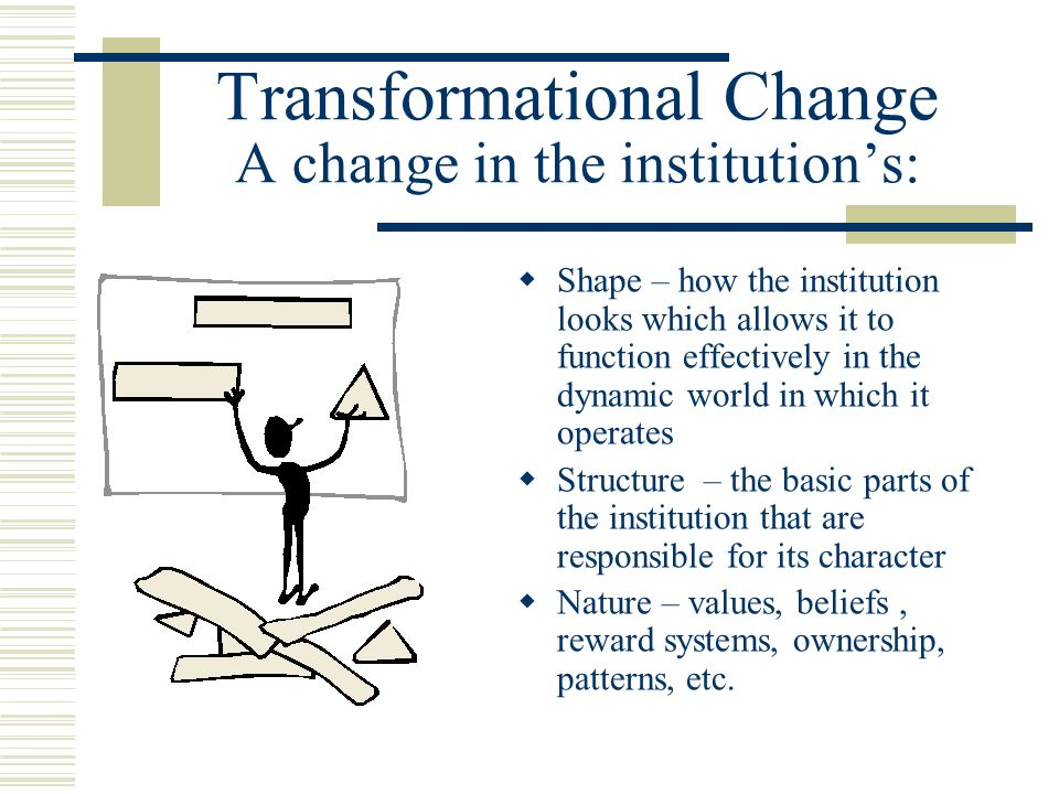 Transformational Change A change in the institutions: Shape – how the institution looks which allows it to function effectively in the dynamic world i