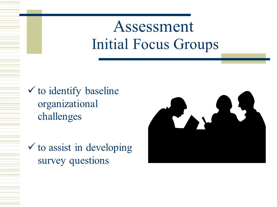 Assessment Initial Focus Groups to identify baseline organizational challenges to assist in developing survey questions