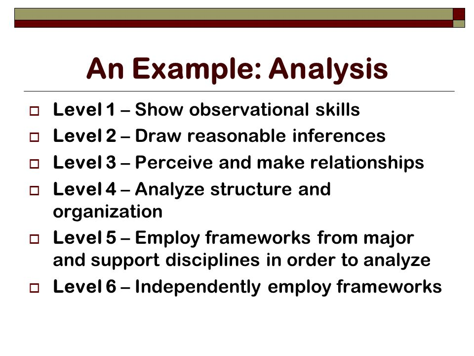 An Example: Analysis Level 1 – Show observational skills Level 2 – Draw reasonable inferences Level 3 – Perceive and make relationships Level 4 – Analyze structure and organization Level 5 – Employ frameworks from major and support disciplines in order to analyze Level 6 – Independently employ frameworks