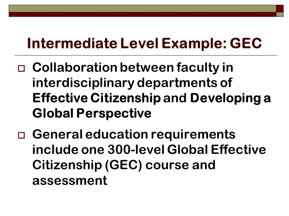 Intermediate Level Example: GEC Collaboration between faculty in interdisciplinary departments of Effective Citizenship and Developing a Global Perspective General education requirements include one 300-level Global Effective Citizenship (GEC) course and assessment