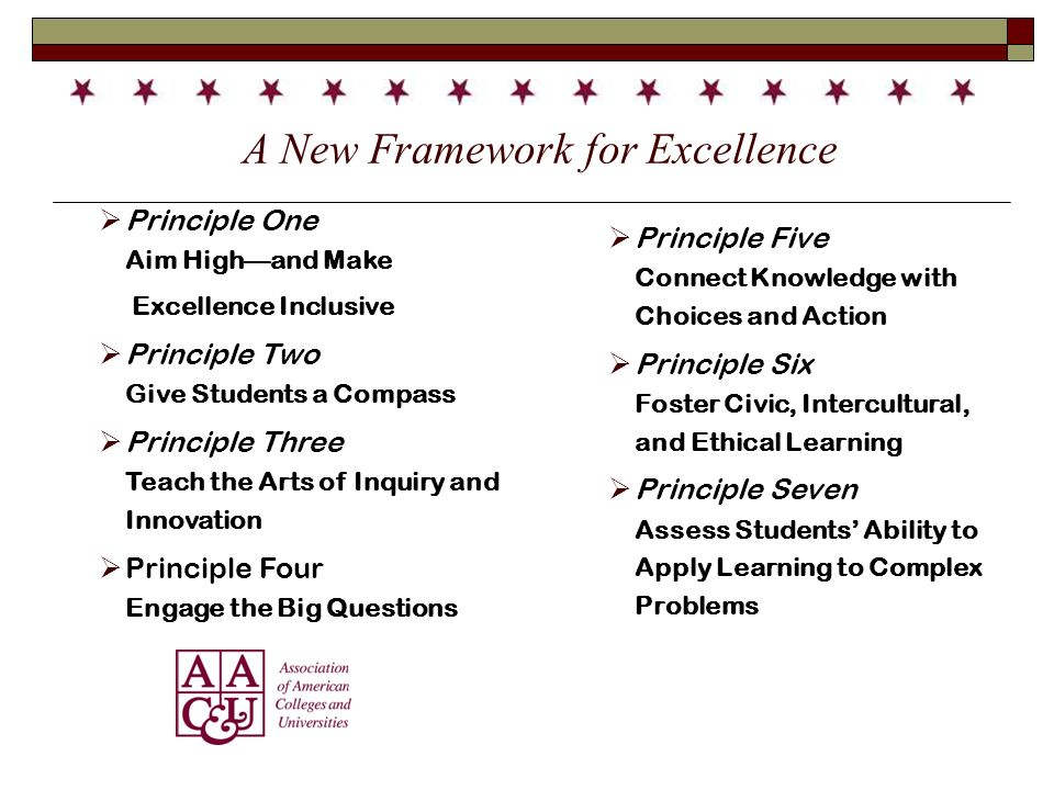 A New Framework for Excellence Principle One Aim Highand Make Excellence Inclusive Principle Two Give Students a Compass Principle Three Teach the Arts of Inquiry and Innovation Principle Four Engage the Big Questions Principle Five Connect Knowledge with Choices and Action Principle Six Foster Civic, Intercultural, and Ethical Learning Principle Seven Assess Students Ability to Apply Learning to Complex Problems