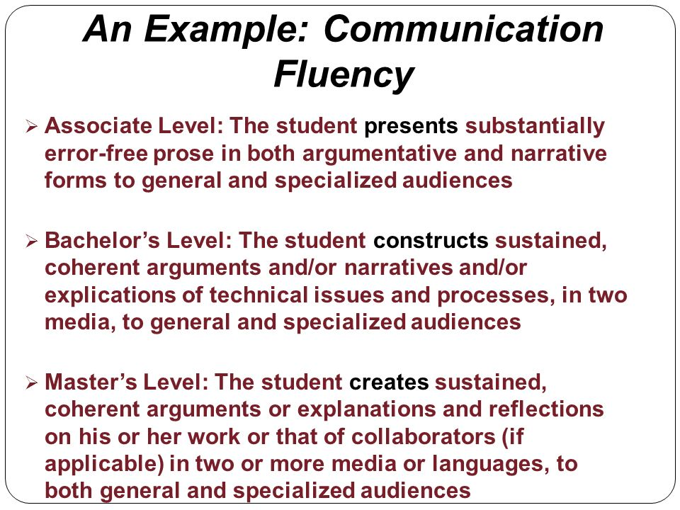 An Example: Communication Fluency Associate Level: The student presents substantially error-free prose in both argumentative and narrative forms to general and specialized audiences Bachelors Level: The student constructs sustained, coherent arguments and/or narratives and/or explications of technical issues and processes, in two media, to general and specialized audiences Masters Level: The student creates sustained, coherent arguments or explanations and reflections on his or her work or that of collaborators (if applicable) in two or more media or languages, to both general and specialized audiences