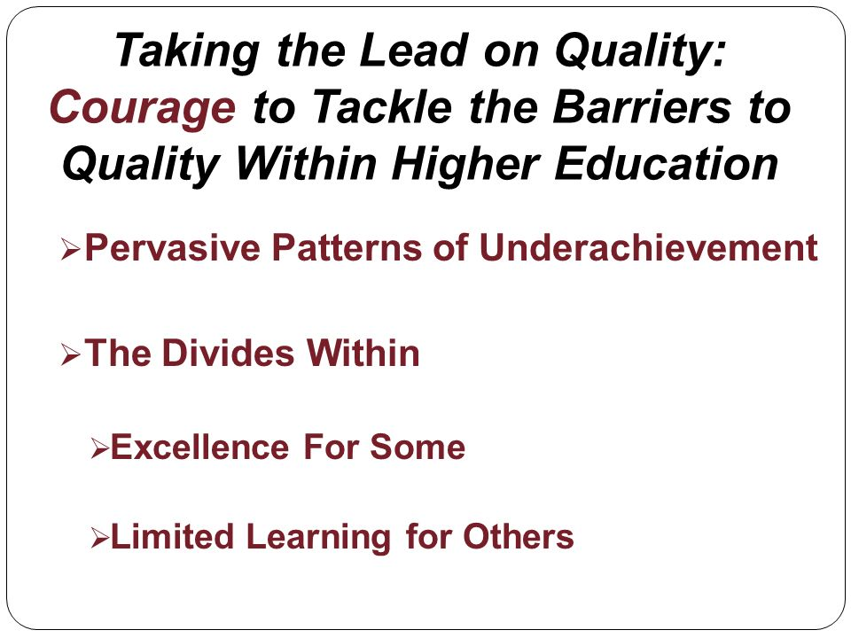 Taking the Lead on Quality: Courage to Tackle the Barriers to Quality Within Higher Education Pervasive Patterns of Underachievement The Divides Within Excellence For Some Limited Learning for Others
