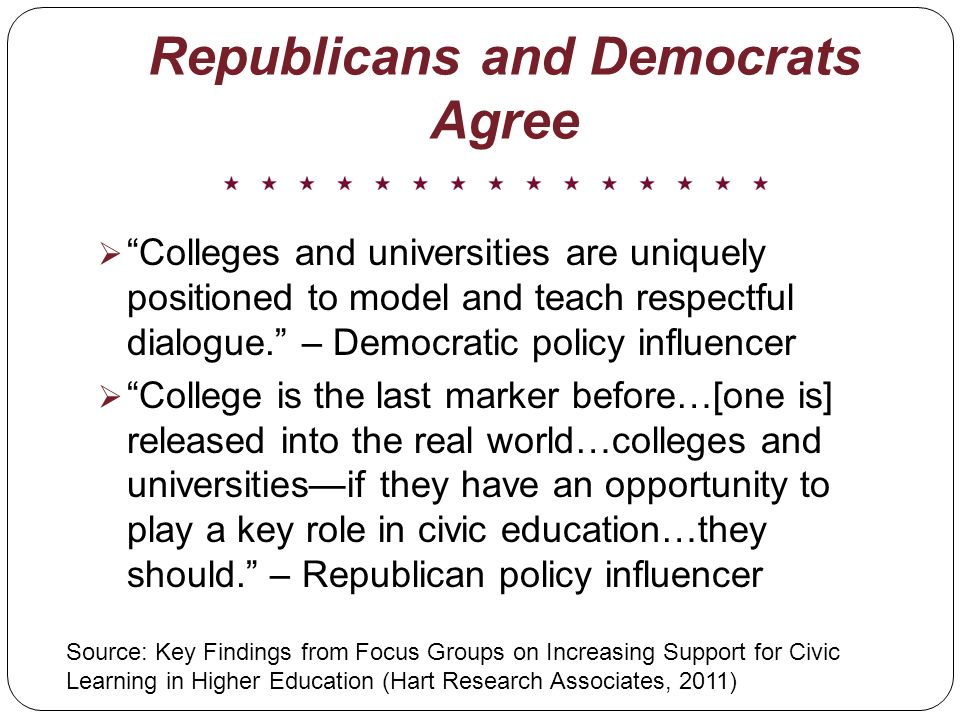 Republicans and Democrats Agree Colleges and universities are uniquely positioned to model and teach respectful dialogue.