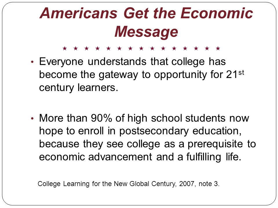 Americans Get the Economic Message Everyone understands that college has become the gateway to opportunity for 21 st century learners.