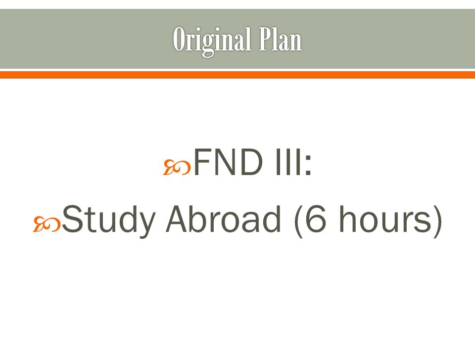 FND III: Study Abroad (6 hours)