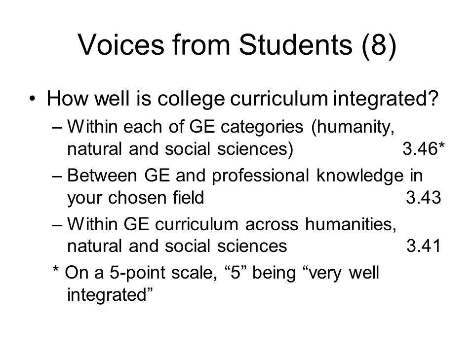 Voices from Students (8) How well is college curriculum integrated? –Within each of GE categories (humanity, natural and social sciences) 3.46* –Betwe