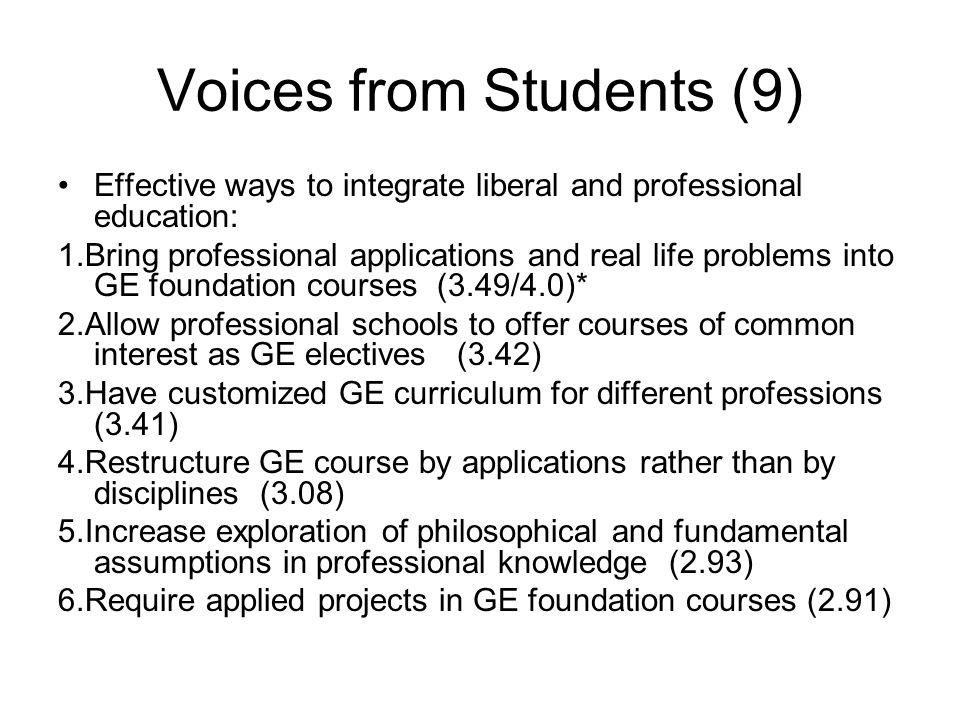 Voices from Students (9) Effective ways to integrate liberal and professional education: 1.Bring professional applications and real life problems into