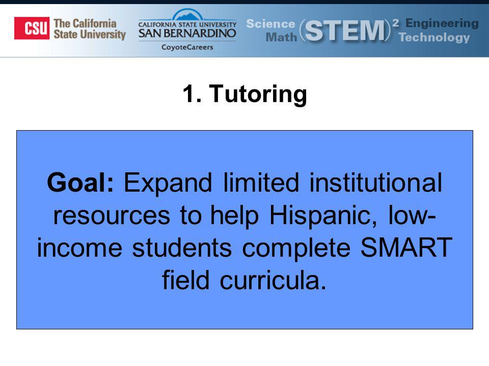 1. Tutoring Goal: Expand limited institutional resources to help Hispanic, low- income students complete SMART field curricula.