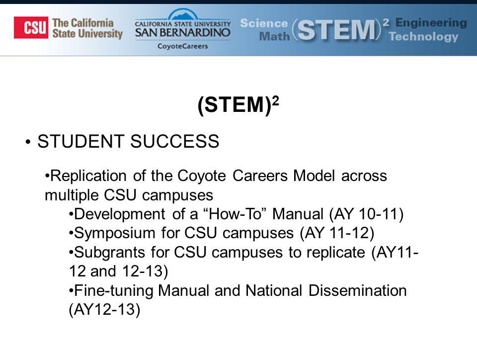 (STEM) 2 STUDENT SUCCESS Replication of the Coyote Careers Model across multiple CSU campuses Development of a How-To Manual (AY 10-11) Symposium for CSU campuses (AY 11-12) Subgrants for CSU campuses to replicate (AY and 12-13) Fine-tuning Manual and National Dissemination (AY12-13)