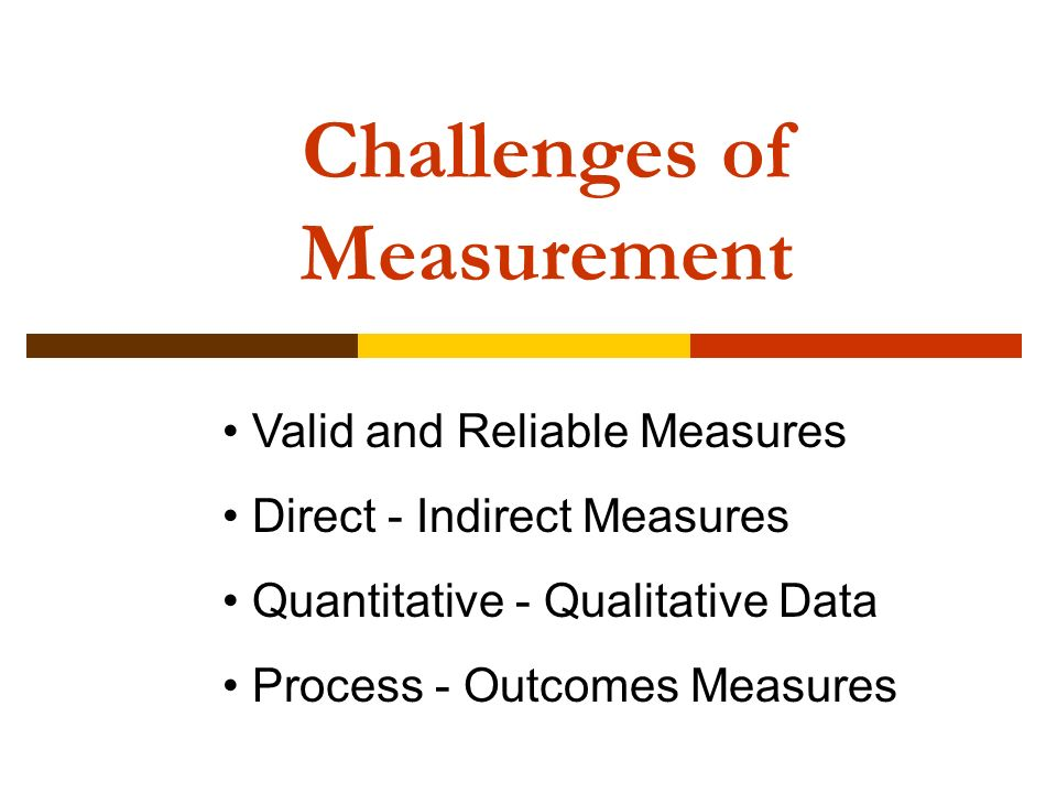Challenges of Measurement Valid and Reliable Measures Direct - Indirect Measures Quantitative - Qualitative Data Process - Outcomes Measures