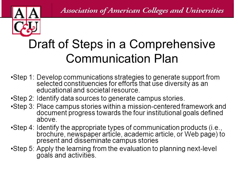 Draft of Steps in a Comprehensive Communication Plan Step 1:Develop communications strategies to generate support from selected constituencies for efforts that use diversity as an educational and societal resource.