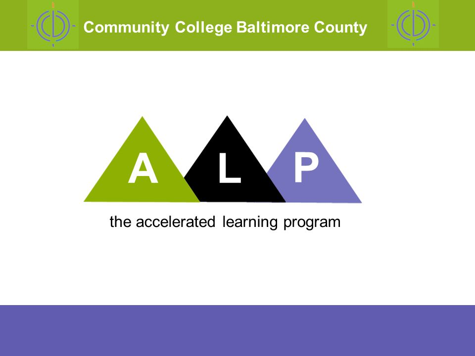 why we developed ALP what ALP is results costs future plans ALP The Accelerated Learning Project Outline of Todays Presentation AL P the accelerated learning program Community College Baltimore County