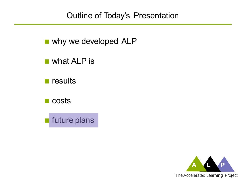 ALP why we developed ALP what ALP is results costs future plans Outline of Todays Presentation