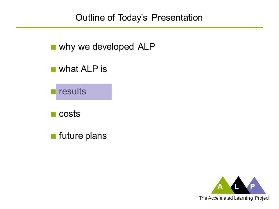 ALP The Accelerated Learning Project traditional factory 102.75 fch 200 fch students per yearcost per studentcost per year students per year cost per studentcost per year 175 (35%) of 500 students pass FYC 350 (70%) of 500 students pass FYC.59 fch per passing student.57 fch per passing student ALP factory An Analogy