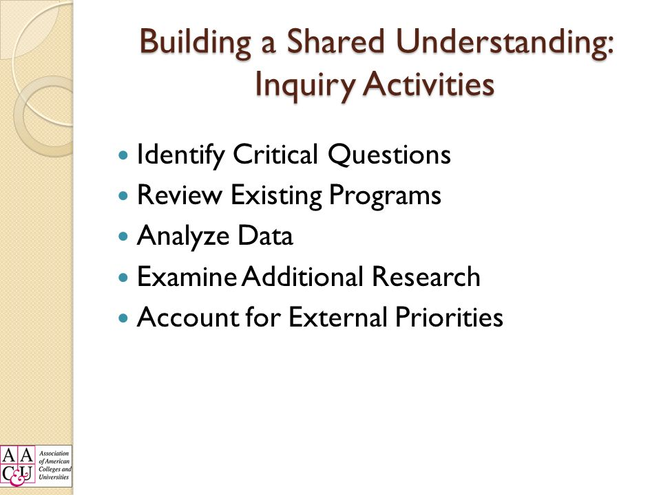 Building a Shared Understanding: Inquiry Activities Identify Critical Questions Review Existing Programs Analyze Data Examine Additional Research Account for External Priorities