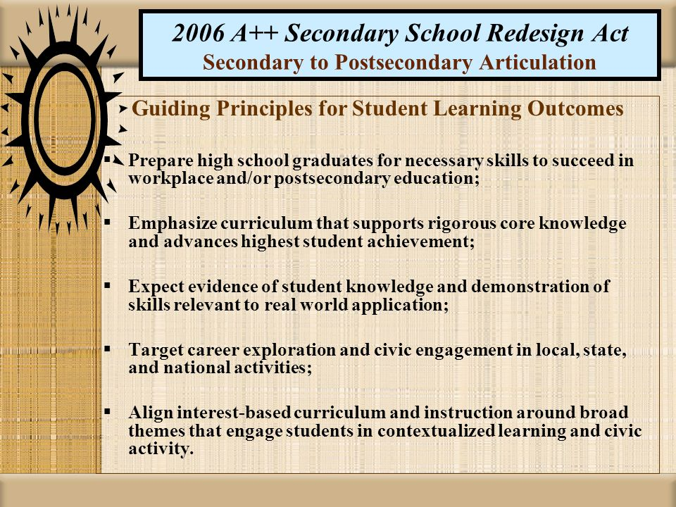 2006 A++ Secondary School Redesign Act Secondary to Postsecondary Articulation Guiding Principles for Student Learning Outcomes Prepare high school gr