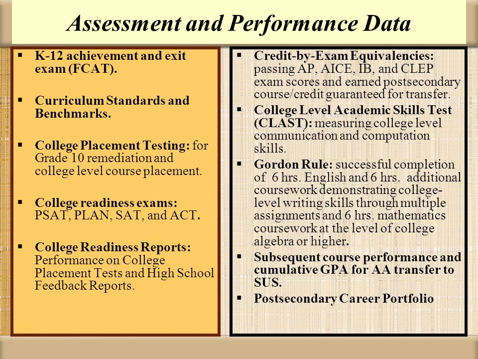 Assessment and Performance Data K-12 achievement and exit exam (FCAT). Curriculum Standards and Benchmarks. College Placement Testing: for Grade 10 re