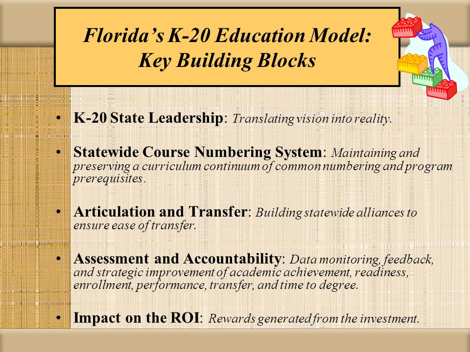 Floridas K-20 Articulation Model Shared VisionStructureStrategic ImperativesCollaborative Culture Florida Statutes: K-20 Education Code K-12 Public School System Systems Thinking Effective articulation Efficient credit transfer Maximum Collaboration and Coordination State Board Rules (6A-10.024) Division of Community Colleges and Workforce Education Accountability Data-Driven Articulated Agreements ROI Shared Knowledge, Technology, & Information Flow Articulation Coordinating Committee (ACC) Board of Governors- State University System Support State Commitment Aligned Training Articulation Resources Adaptable and Responsive