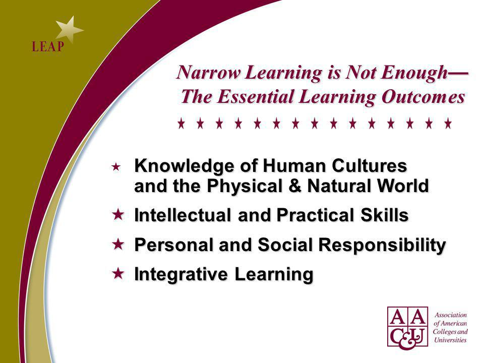 Narrow Learning is Not Enough The Essential Learning Outcomes Knowledge of Human Cultures and the Physical & Natural World Intellectual and Practical