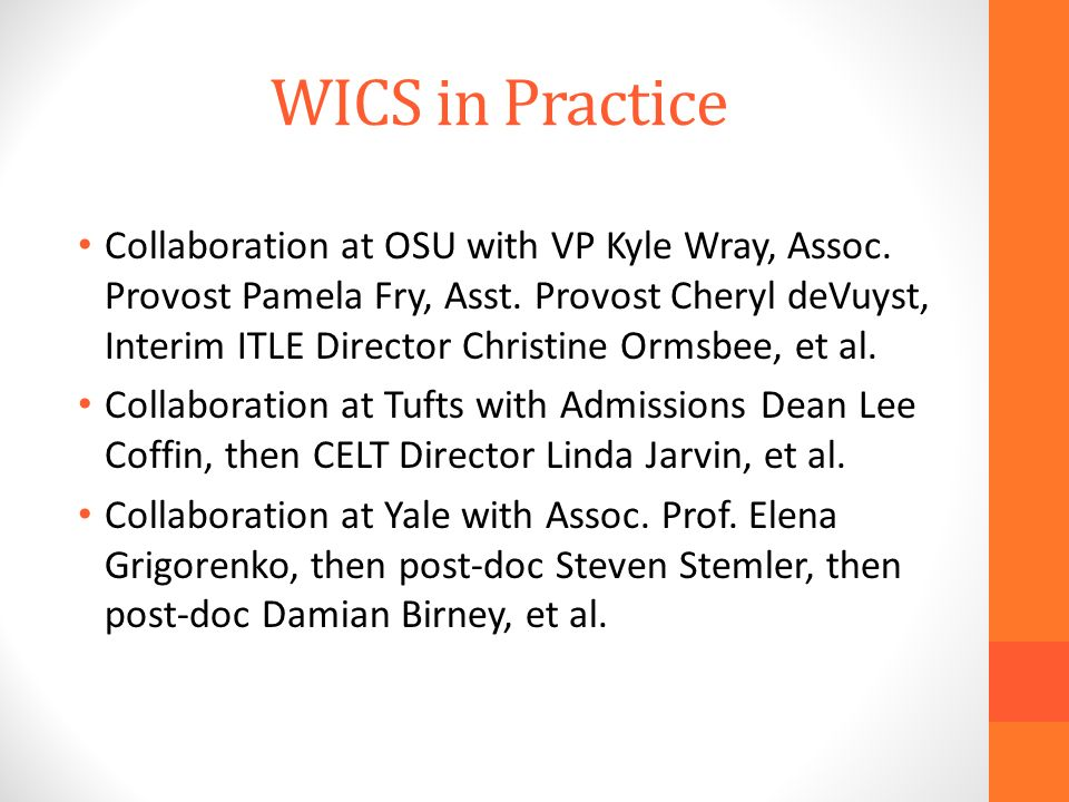 WICS in Practice Collaboration at OSU with VP Kyle Wray, Assoc.