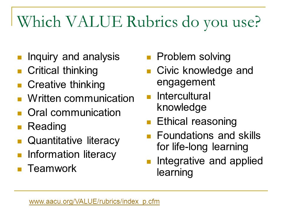 Implementation Procedures (1) How we are using the rubrics: A number of VALUE Rubrics are aligned to our UNCW Learning Goals.