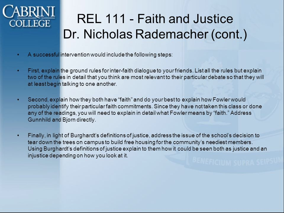 REL 111 - Faith and Justice Dr.