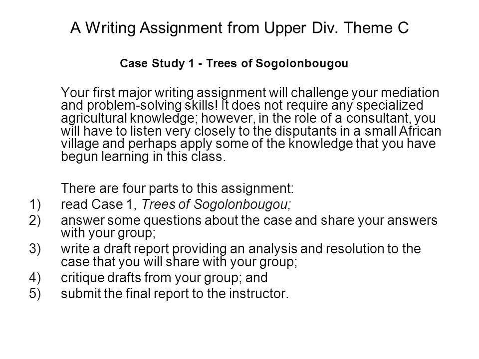 A Writing Assignment from Upper Div.
