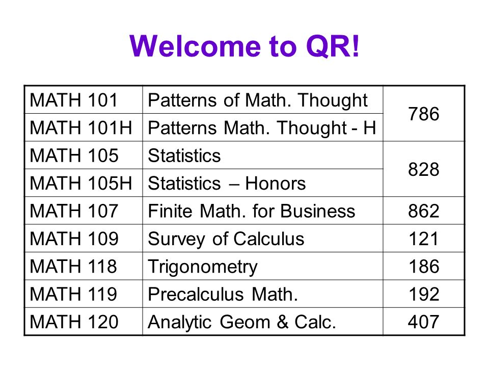 Welcome to QR! MATH 101Patterns of Math. Thought 786 MATH 101HPatterns Math. Thought - H MATH 105Statistics 828 MATH 105HStatistics – Honors MATH 107F