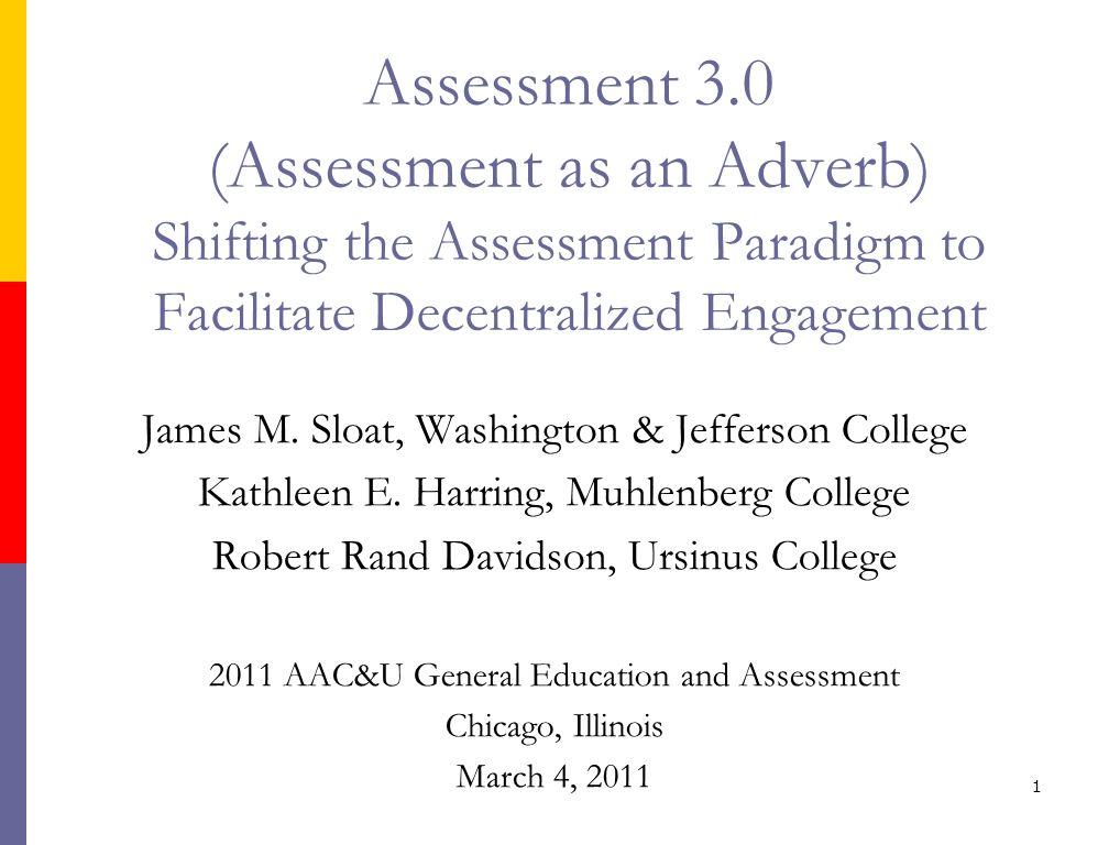James M. Sloat, Washington & Jefferson College Kathleen E. Harring, Muhlenberg College Robert Rand Davidson, Ursinus College 2011 AAC&U General Educat