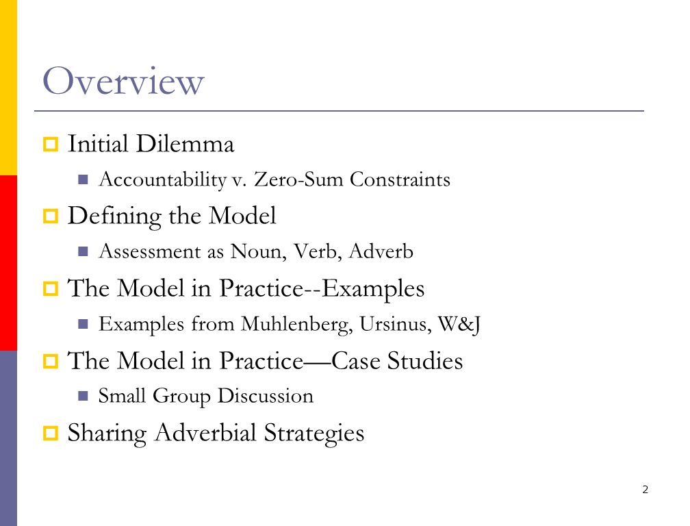 Overview Initial Dilemma Accountability v. Zero-Sum Constraints Defining the Model Assessment as Noun, Verb, Adverb The Model in Practice--Examples Ex