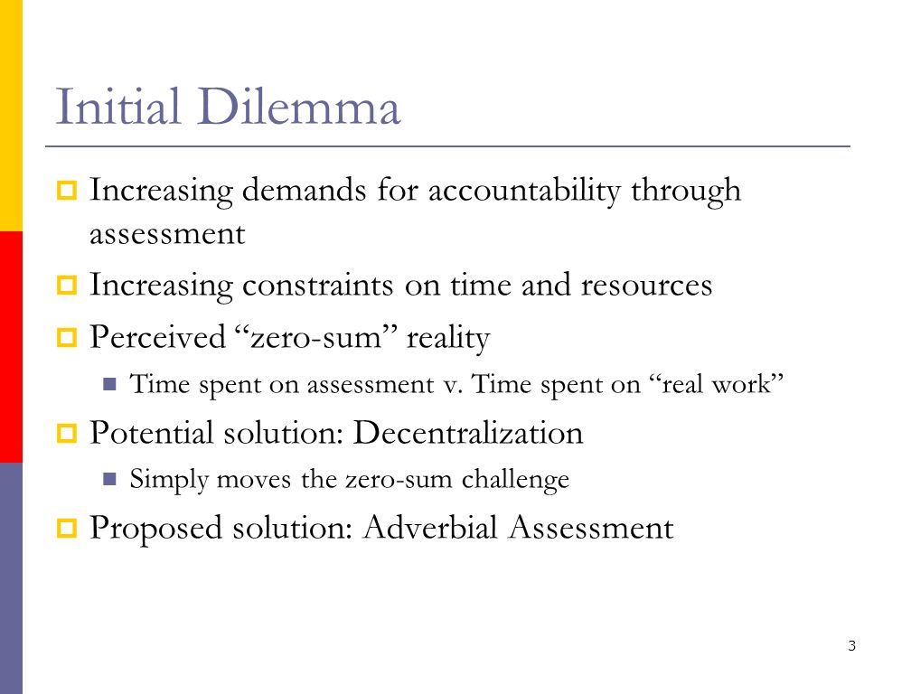 Initial Dilemma Increasing demands for accountability through assessment Increasing constraints on time and resources Perceived zero-sum reality Time