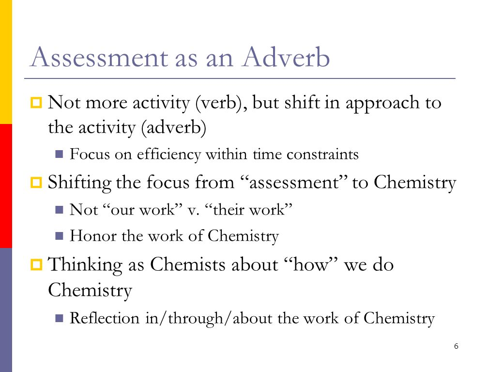 6 Assessment as an Adverb Not more activity (verb), but shift in approach to the activity (adverb) Focus on efficiency within time constraints Shiftin