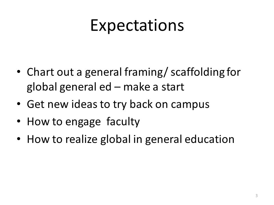Expectations Chart out a general framing/ scaffolding for global general ed – make a start Get new ideas to try back on campus How to engage faculty How to realize global in general education 3