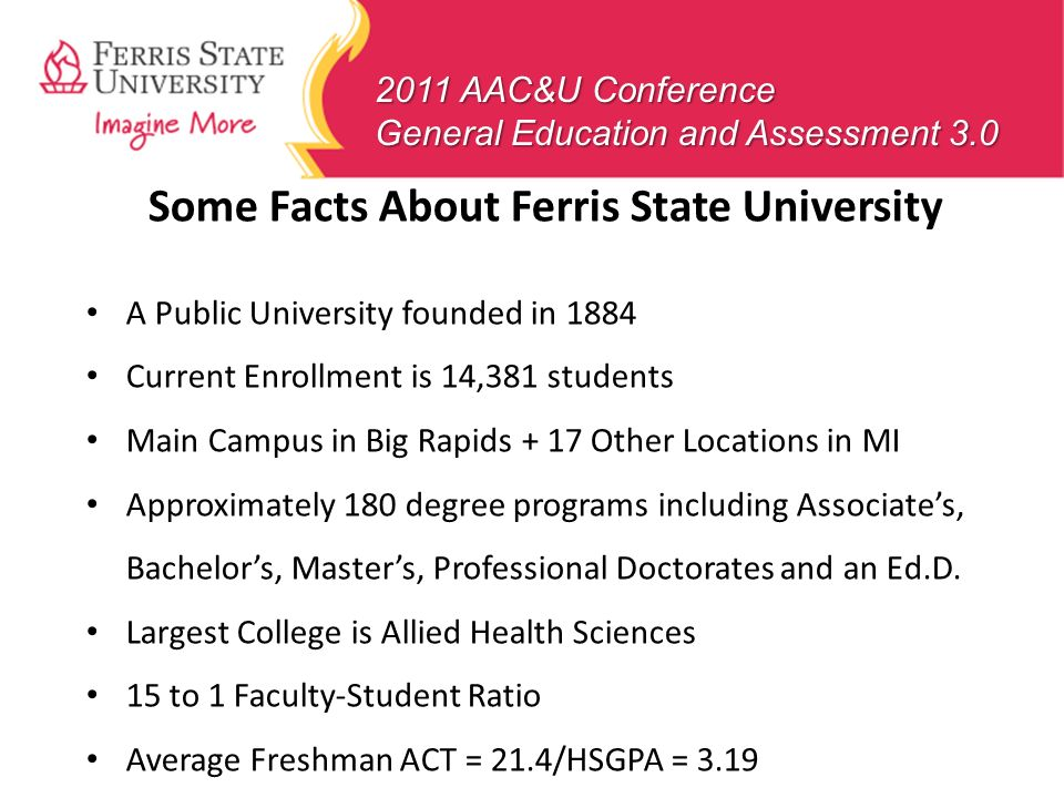 Some Facts About Ferris State University A Public University founded in 1884 Current Enrollment is 14,381 students Main Campus in Big Rapids + 17 Othe