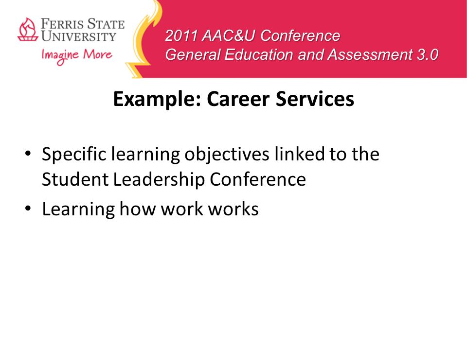 2011 AAC&U Conference General Education and Assessment 3.0 Example: Career Services Specific learning objectives linked to the Student Leadership Conf