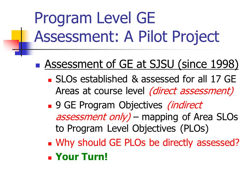 Program Level GE Assessment: Why is it needed.Why should PLOs be assessed directly.