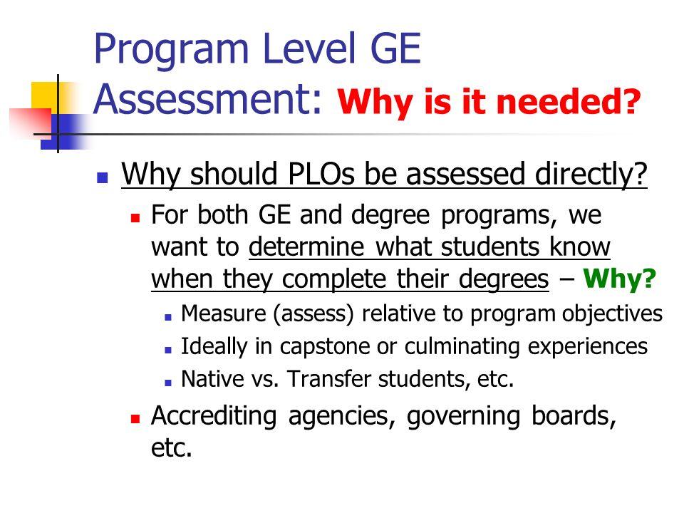Program Level GE Assessment: Why me/us.SJSU faculty grudgingly acceptassessment…..