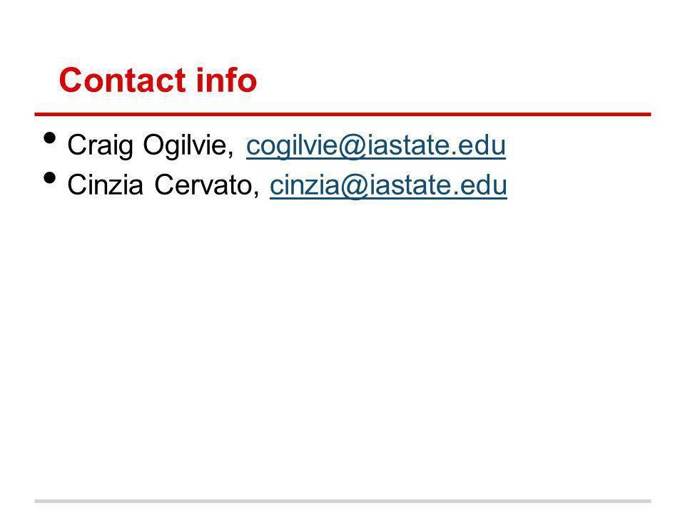 Contact info Craig Ogilvie, cogilvie@iastate.educogilvie@iastate.edu Cinzia Cervato, cinzia@iastate.educinzia@iastate.edu