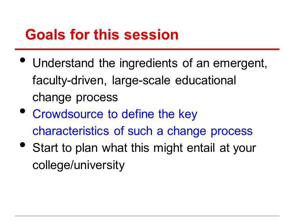 Goals for this session Understand the ingredients of an emergent, faculty-driven, large-scale educational change process Crowdsource to define the key characteristics of such a change process Start to plan what this might entail at your college/university