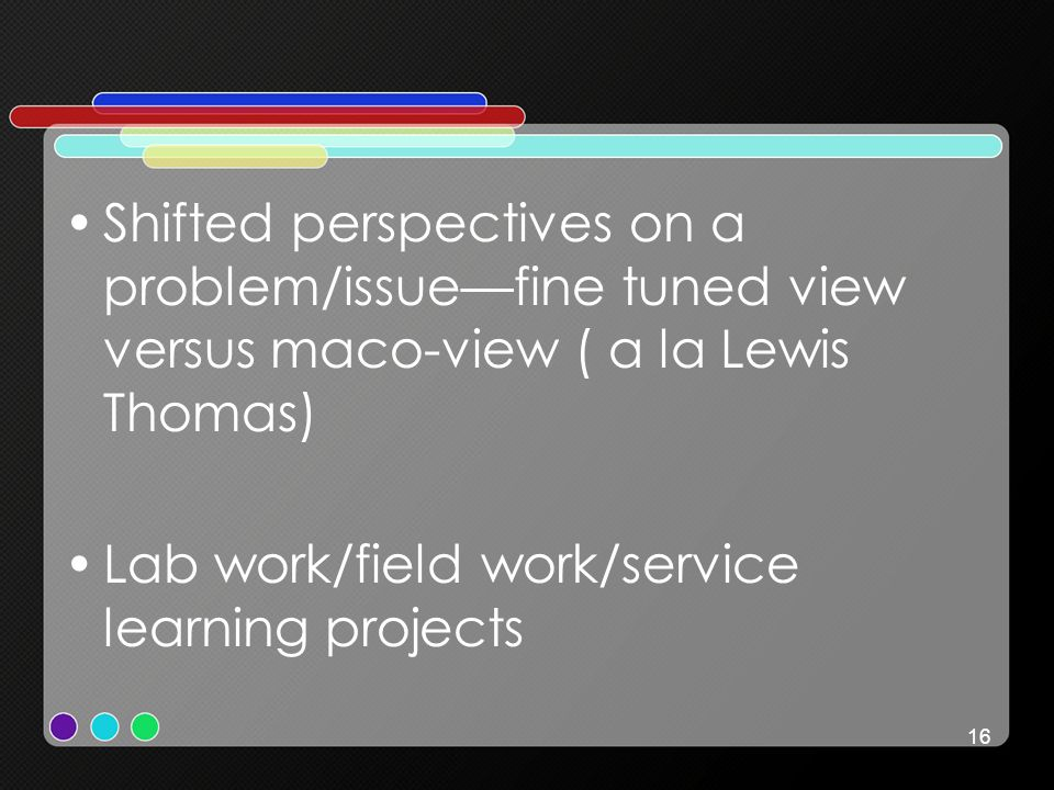 16 Shifted perspectives on a problem/issuefine tuned view versus maco-view ( a la Lewis Thomas) Lab work/field work/service learning projects