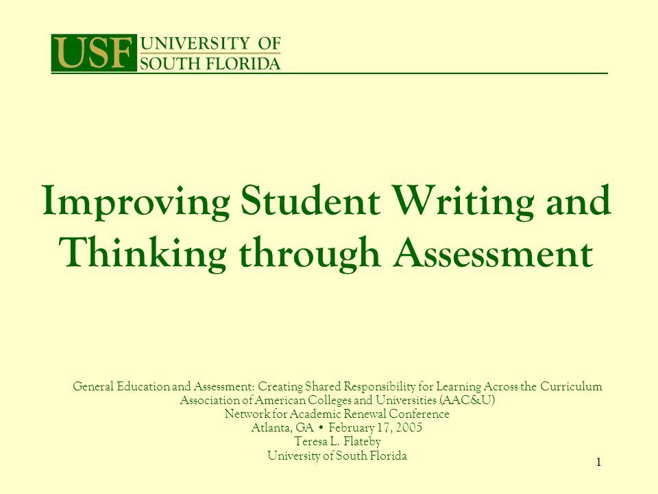 12 Importance of Cognitive Level Targeted in Assignments Writing suffers when unprepared Clear expectations for students and instructors / administrators Better understanding of results Why?