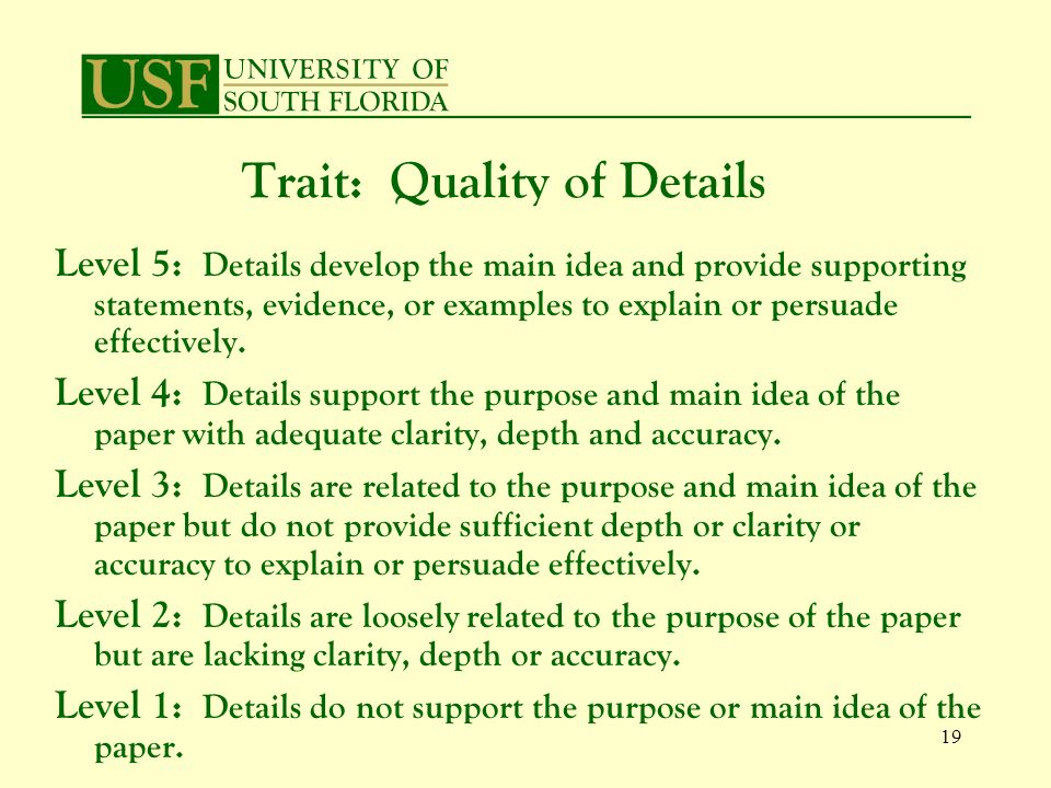 19 Level 5: Details develop the main idea and provide supporting statements, evidence, or examples to explain or persuade effectively.