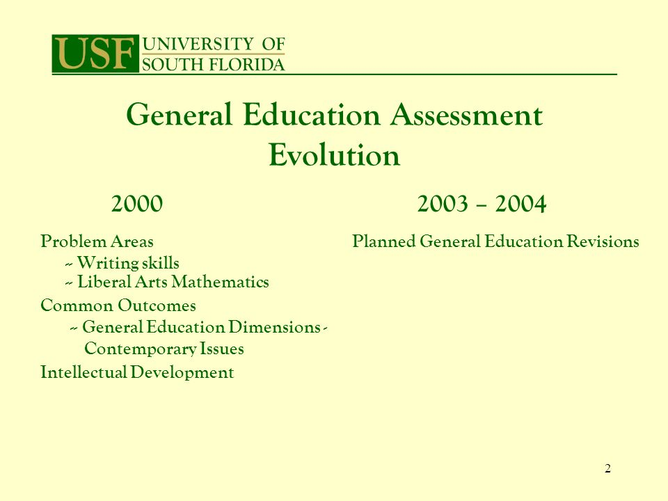 2 General Education Assessment Evolution 2000 Problem Areas -- Writing skills -- Liberal Arts Mathematics Common Outcomes -- General Education Dimensions - Contemporary Issues Intellectual Development 2003 – 2004 Planned General Education Revisions