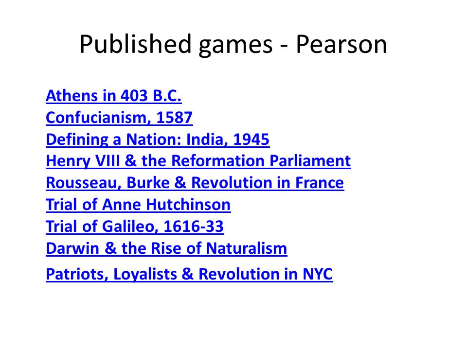 Published games - Pearson Athens in 403 B.C.