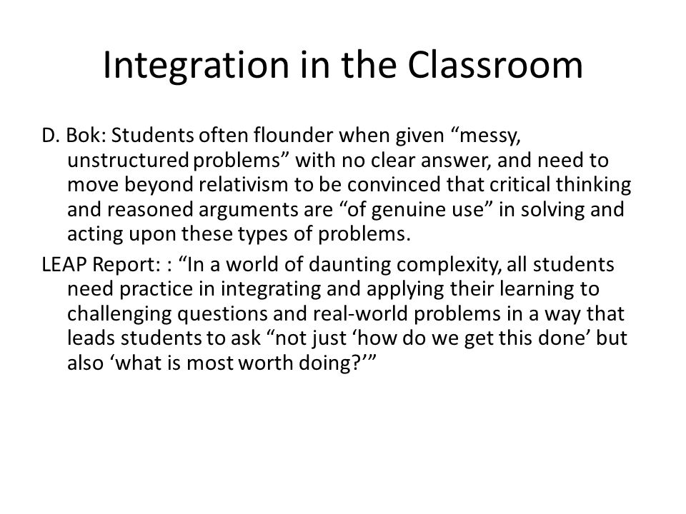 Integration in the Classroom D.